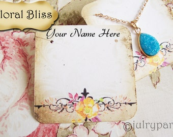 24•FLORAL BLISS•Necklace and Earring Cards•Jewelry cards•Necklace Card•Display•Earring Holder•Necklace Holder•2x2 or 3x3