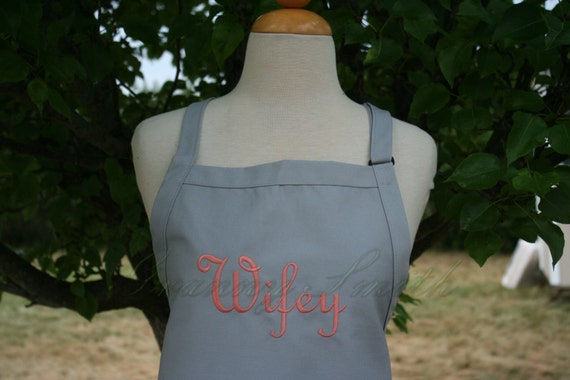 """Ready to ship*** NO pocket """"Wifey"""" apron in Silver Gray Spoons with Peach Tea Colored Thread.  Your option to add a bow or not."""