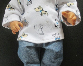 """Doll Clothes Boy/Girl 2 Pc Pants Long Sleeve Tee Puppies Jean Look 12-13"""" Baby Dolls"""