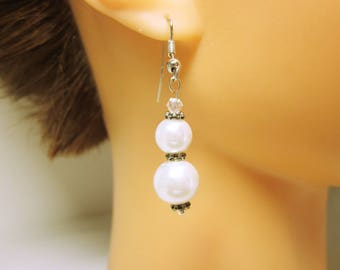 White Pearl Earrings White Glass Pearls Silver Spacer Beads Wedding Wear Gift For Her Bridesmaid Gift Idea  JEWELRY