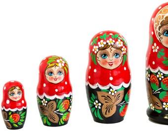 Matryoshka - Russian Matryoshka Strawberries, Nesting Dolls, Set 5pc, Handmade
