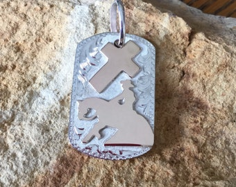 """Pendent/ Dog Tag/ Reining Horse with a Cross/Artisan Handmade/ sterling silver  1 1/2""""x 1"""""""