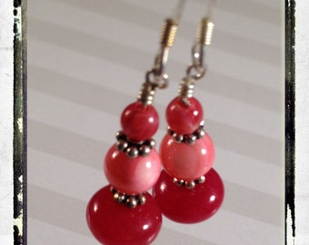 Panetone Pinks -- Honeysuckle -- Red Jade, Coral Shaded Mother of Pearl, Agate and Sterling Silver Earrings