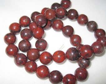 SUPPLY SALE - Red Jasper Round 10mm Gemstone Strand, 16 inches