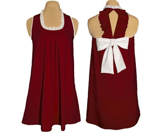 Deep Red + White Back Bow Dress