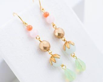 Pastel earrings, Blue dangle earrings, Bridesmaids earrings, Bridal earrings, Long earrings, Dangle earrings, Crystal earrings