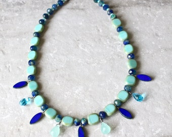Blue and green statement necklace, Teardrops necklace, Blue and green necklace, Blues and greens, Fringe necklace, Czech glass necklace