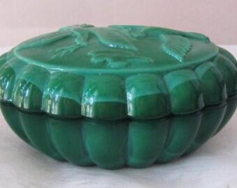 Art Déco Czech Vintage Malachite Glass Oval Jewelry Box Trinket