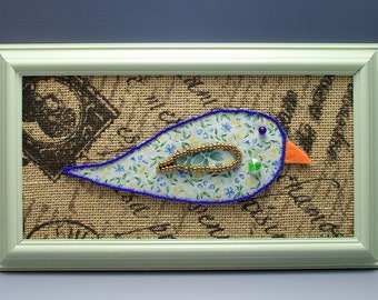 Little Bird, Bead Embroidery, Beaded, Seed Beads, Blue and Green, Mixed Media, OOAK