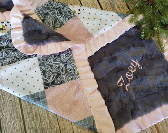 Boho nursery pink baby girl blanket-wildflower floral personalized baby girl gift