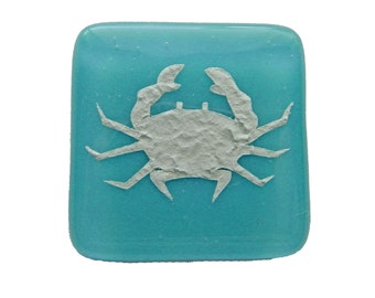 Crab Fused Glass Cabinet Knob for Kitchen or Bathroom Beach Decor. Turquoise glass knobs in variety of colors by Uneek Glass Fusions.