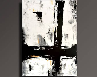 "54"" Large ORIGINAL ABSTRACT Painting Black White Gray Gold Painting Canvas Art Contemporary Modern Painting Wall Art #AB46i4"