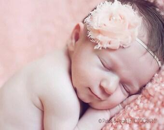 Peach Chiffon Shabby Chic Baby Flower Headband, Newborn Headband, Baby Girl Flower Headband, Photography Prop