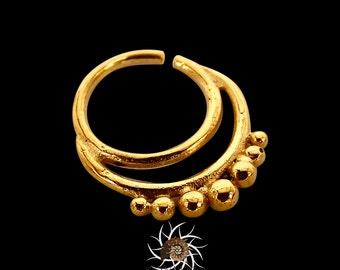 Agni Gold Septum Ring - 18G Septum - 16G septum - Indian Septum Ring - Tribal Septum Ring - Septum Jewelry - Septum Piercing (G8)