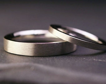 Set of sterling silver flat wedding bands brushed finish   2mm and 4mm