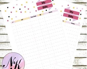 Planner Bills Insert, The Happy Planner, Planner Insert, My Bills, MAMBI Paperback Notebook, Arc Planner, Me & My Be Ideas