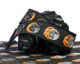 Camera Strap, dSLR, SLR, Solar Eclipse, Pocket, Canon strap, Nikon strap, Photographer Gift, Neck strap, Mens camera strap,  299