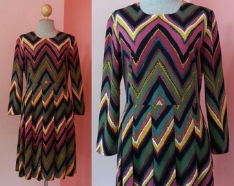 Vintage 80s Dress Zig Zag Dress Womens Dresses Japanese Dress 1980s Clothing Retro Dress Casual Dress Day Dress Long Sleeve Dress Medium M