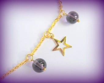 Short gold plum star glass bead necklace Unique Designer