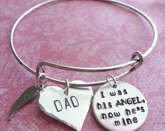 Dad Memorial Jewelry Mom Memorial Jewelry Bangle Bracelets Personalized Memorial Gift Bangle Charm Bracelet Hand Stamped Jewelry