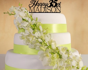Happy Birthday  Cake Topper with name and age.