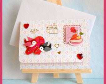 triple 'I Love You' card to ask, 3D birds