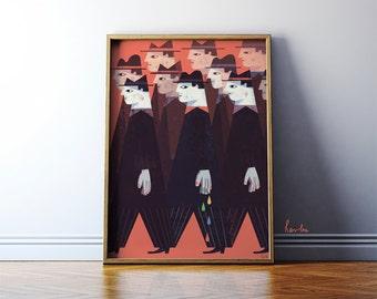 Art print: Friday illustration. Fine art print on archival paper. A2 retro style Poster.