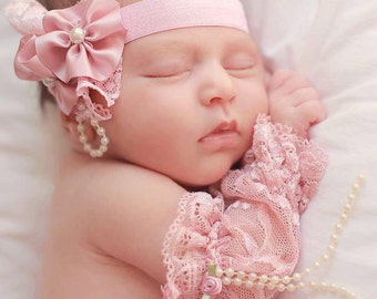 Baby Girl Pink and Dusty Rose Lace cuffs,Baby Girl Photo Prop,Formal lace sash