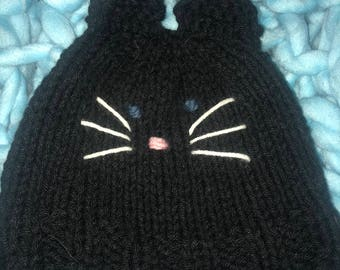 Kitty cat handknit hat