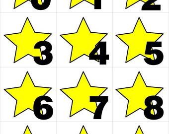 Yellow Star - Numbers 0-31 Pocket Chart Cards - CALENDAR   - Perfect for Preschool - Kindergarten - homeschool - Instant Download