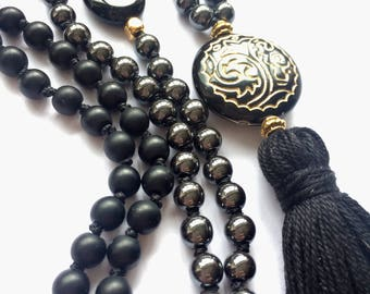 Black Mala, Onyx. Hematite, Agate. Tassel. Prayer. Meditation. Tranquility. Peace. 108 beads
