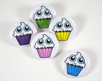 Cupcake Pins – 1.25 inch Pinback Button – Cupcake Party Favors