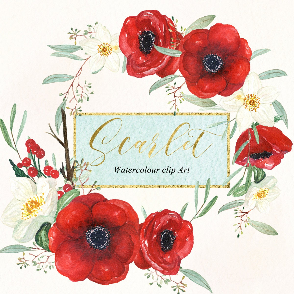 Anemones scarlet red and winter rose. Watercolour clipart. Original ...
