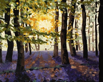 Bluebell Sunrise mounted print of an original oil painting by Tracy Butler