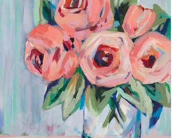 "Bright Blooms, 13""x 19"" Signed Large Print of Original Acrylic Painting"