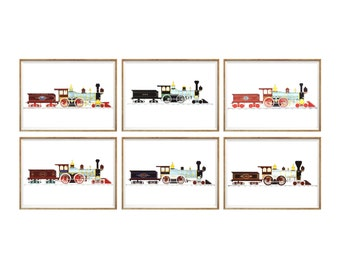 Train Wall Art Print SET of 6. UNFRAMED A4. boys room decor , train decor , train art , kids train art print , train prints , kids train art