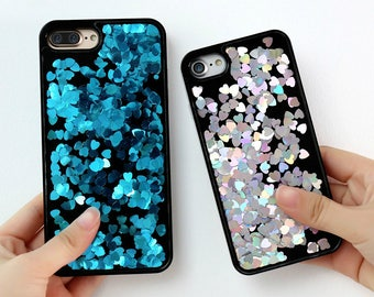 Luxury Bling Liquid Glitter Hearts Dynamic Quicksand Blue Silver Yellow Purple Green Red Case Cover For iPhone 7 Plus 6 Plus 6S 5S SE Fundas