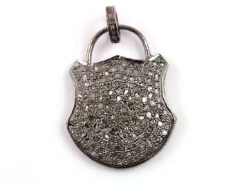 Pave Diamond Pendant, Pave Lock Pendant, Diamond Lock Charm, Pave Lock Necklace, Pave Connector, Oxidized Silver. (DCH/PDT/390)