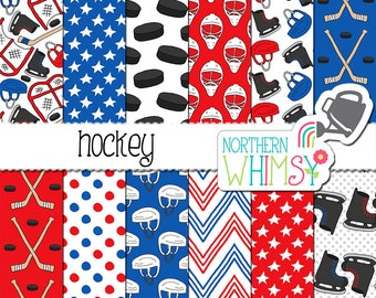 Hockey Digital Paper - sports scrapbook paper in red and blue with skates, sticks, helmets & pucks -  printable paper - commercial use