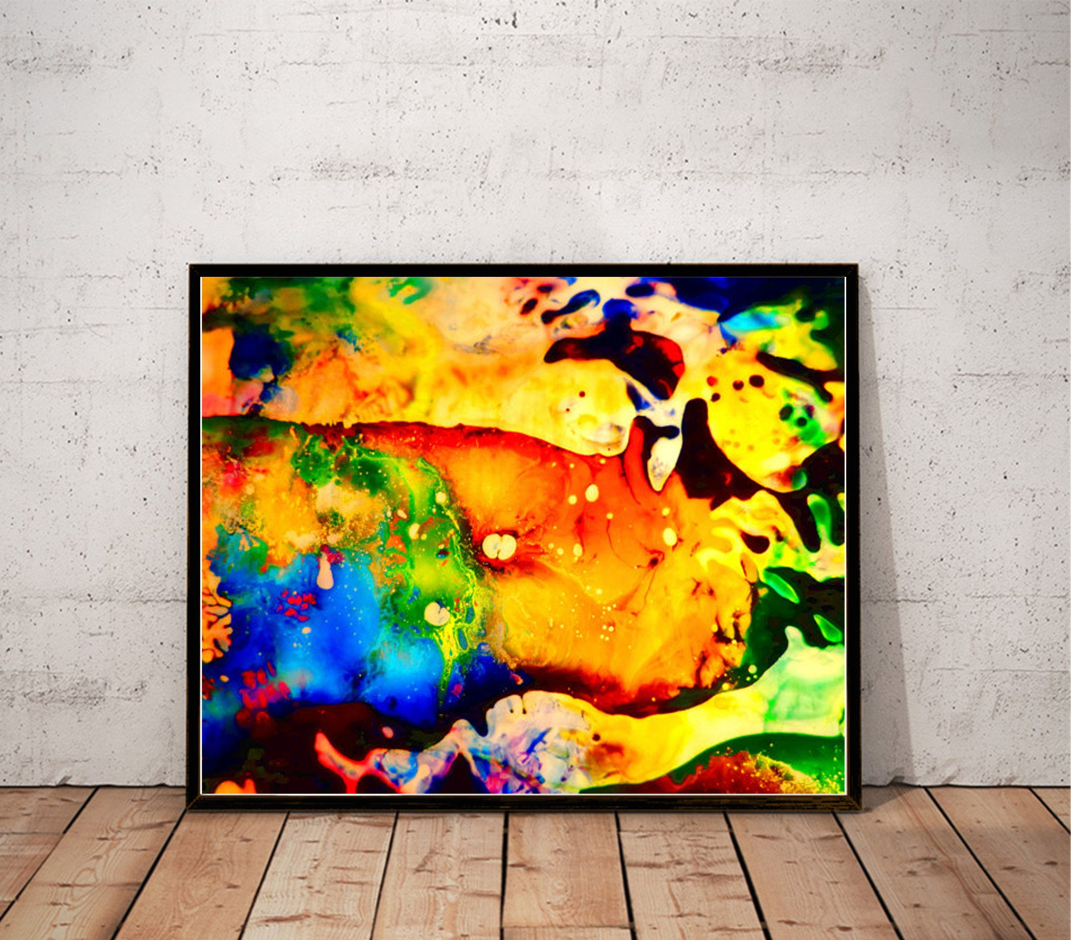 abstract art print / psychedelic painting print / multicolor