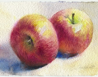 Fruit print - apple painting, kitchen wall art - fruit watercolor print, paper