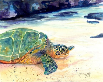 Turtle Print 8x10 Kauai Art Hawaiian Paintings honu sea turtle gifts kids room decor turtle paintings green sea turtles hawaii prints
