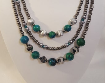 3 Strand Necklace Made With Green/Blue and Silver Beads with Metal Gray Glass Pearls and Seed Beads