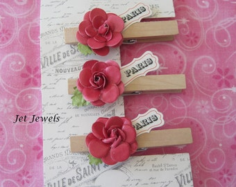 3 Wood Clothes Pins, Paris Theme Party, Home Office, Paper Clips, Paris Decor, French Decor, French Country, Shabby Chic, Pink Paper Roses