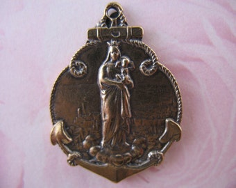 French Religious Medal Marseille Religious Pendant Bronze Charm Religious Jewelry Supplies Rosary Parts