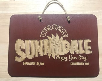 Buffy The Vampire Slayer Inspired Welcome to Sunnydale Wooden Plaque