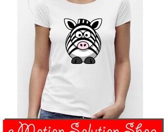 White T-shirt or black zebra woman size choice