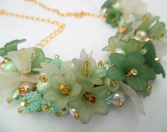 Mint Green Floral Statement Necklace, One of a Kind Jewelry, Necklace with Flowers, Summer Jewelry, Mint White Gold, Pretty Necklace