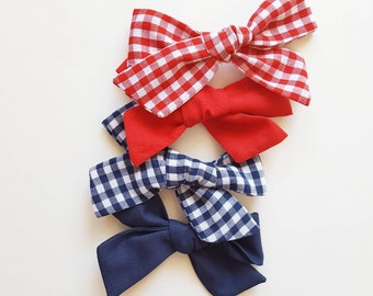 Americana Chubby hand tied school girl bows  <gingham collection>
