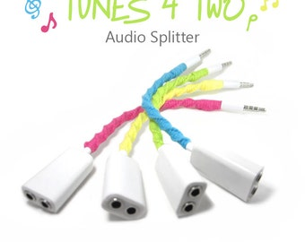 Tunes 4 Two Audio Splitter - Custom Headphones Two Way Aux Jack Cable - Choose Your Own Color - Music Sharing Earbuds Splitter - Tech Gift